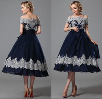 Wholesale White Dress Black Part - 2017 Elegant Navy Blue Ball Gown Prom Dresses Lace Bateau Neck Knee Length Zipper Pageant Part Dresses