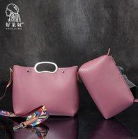 Wholesale Large Piece Artwork - Factory direct brand handbag new retro color collocation color elegant ladies handbag strap brand large capacity two piece mother bag