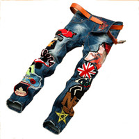 Wholesale Embroidery Patches Badges - Wholesale-Personality Embroidery Beauty Badge Patch Jeans Mens Ripped Jeans Fashion Brand Biker Jeans Hip Hop Denim Casual Pants For Men