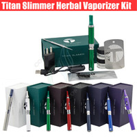 Wholesale Electronic Cigarette Kit Slim - Titan Slimmer Vaporizer Starter Kit 7 Colors 650mah Herbal Vaporizer Dry Herb Electronic Cigarette Pen DHL Free