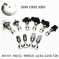 Wholesale H11 Led Head Light - 6 CREE-XBD 30W LED H4 h7 h11 1156 1157 9005 9006 White Fog Tail Turn Brake Head Car Light Lamp Bulb