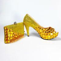 Wholesale Gold Glitter Womens Heel - Cheap Womens Fashion Online Luxury Bridal 10cm Shoe Handmade Platform Pumps Gold Diamonds Shing Wedding Party Matching Shoes and Clutch Bags