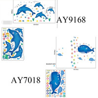 Wholesale Removable Wall Decals Whales - 100pcs AY7018 AY9168 Cute dolphin fishes whale bubbles underwater cartoon Kids room decor baby bedroom decals PVC wall sticker home decals