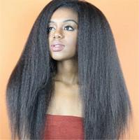 bakire kinky düz dantel peruk toptan satış-İşlenmemiş Virgin Tutkalsız Dantel Ön İnsan Saç Peruk Tam Dantel peruk bebek saç Brezilyalı Siyah Kadınlar Için Kinky Düz peruk 8A