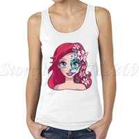 Wholesale Skull Queen - Wholesale-Underwater Princess sugar skull women tank tops Thawed Princess Queen of Snow Poisoned Apple Princess printed lady sports vest