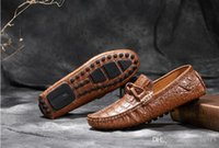 Wholesale Square Buttons Sewing - 2016 Genuine leather loafers Men Dress Shoes Crocodile Style Oxford Shoes For Men, Casual Driving shoes boat shoes Men Moccasin D42