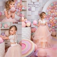 Wholesale 4t Pageant Dresses For Sale - 2016 Hot Sale Two Pieces Blush Pink Flower Girls Dresses for Wedding Lace First Communion Tutu Dress Girls Pageant Gowns