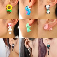Wholesale Polymer Clay Cute - Cute fashion individuality animal polymer clay ear nail cartoon Corpse Flower Fox Cat soft pottery earrings