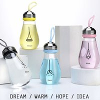 Wholesale Tea Light Warmers - Light Bulb Glass Water Bottle with Rope Creative Cute Travel Outdoor Fruit Juice Milk Tea Glass Bottle Milk Bottle
