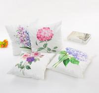 fleurs décoratives violettes achat en gros de-Housse de coussin motif fleur 4 style violet bleu jaune rose fleur taies d'oreiller 45 * 45cm canapé taie d'oreiller décoratif