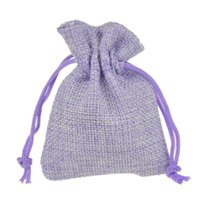 Wholesale Beads Jute - 7x9cm Faux Jute Drawstring Jewelry Bags Candy Beads Small Pouches Burlap Blank Linen Fabric Gift packaging bags Hessian bag for sale Voilet