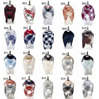 xales de inverno cachecóis venda por atacado-Venda por atacado --Nova queda e inverno lenços de simulação de preservação de calor cashmere xale Quadrados de grade coloridos lenços 4156