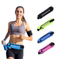 Wholesale Black Hole Pack - Running Waist Bag Sport Packs For Music With Headset Hole-Fits Smartphones Sports Water Bags Fitness Belt Chest Pouch