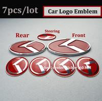 kia optima embleme großhandel-7pcs / set neue schwarze / rote K Logo Abzeichen Emblem fit für KIA OPTIMA K5 / Exterieur Zubehör / Auto Embleme / 3D Aufkleber Hood Trunk Steering