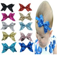 Wholesale Large Black Hair Bow - 2017 Baby Flowers Headband Hair Bands headwear Children large sequined bow bow baby hair headdress with flash 10 color