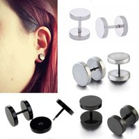 8/06/10/12 mm Black Silver Stainless Steel Fake Ear Plugs Gauge Femme Hommes Illusion Body Piercing BJ7331