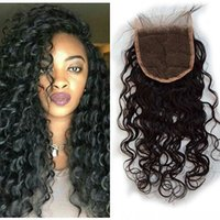 Wholesale Burmese Wavy - Wet And Wavy Lace Closure With Baby Hair Natural Black Virgin Burmese Water Wave Top Closures Bleached Knots G-EASY