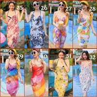 Wholesale Zig Zag Skirt Girls - JJA48 Women Printed Sarong Wrap Beach Smock Chiffon Butterfly Zebra Stripe Floral Bikini Cover Up Braces Skirt Swimwear Beachwear 1000PCS