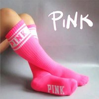 Wholesale Pink Cotton Sport Dress - Women Lady Girls PINK Stripey Leggings Letter Sports Stockings Dress Skateboard Stripe Harajuku The Knee High Socks