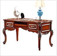 muebles europeos franceses al por mayor-Escritorio de oficina ejecutiva de lujo de estilo barroco francés / talla de madera clásica europea Mesa de escritura / Retro Home Office Furniture pfy900
