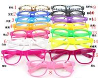 Wholesale Geek Glasses Wholesale - 10pcs 15 Colors Fashion Lovely Unisex Clear Lens Nerd Geek Glasses Men Women Beach Color Transparent Sunglasses Eyewear Brand Designer