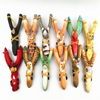 Wholesale paint wooden toys - Animal Slingshot Carved Painted Bamboo Wooden Sling Shot Toys Originality Novelty Games Slingshot Bow Catapult Hunting Slingshot