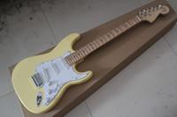 cuerda de crema amarilla al por mayor-Custom Big Headstock ST Yellow Cream Yngwie Malmsteen Diapasón de arce Festoneado 6 cuerdas guitarra eléctrica guitarra envío de la gota