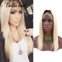 Wholesale 1b 613 front wig online - 613 with Dark Root Blonde Full Lace Wigs Ombre Human Hair Wig Front Lace Color B Straight Bella Hair