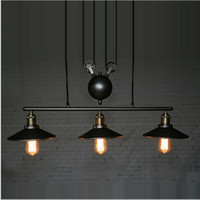 Wholesale Rope Pulleys - RH Retro Iron Pulley led pendant lights Loft American Vintage industrial pendant lighting Pulley Rope Antique Edison Pendant Lamps