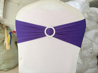 Wholesale Purple Wedding Fabric - 100 PCS DHL FREE SHIPPING finished dark purple edge spandex lycra chair bands elastic chair sash with buckle for wedding