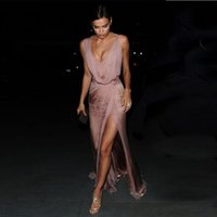 Wholesale red carpet real resale online - 2018 New Irina Shayk Celebrity Dresses Sexy Red Carpet Evening Dresses A Line Chiffon Deep V Neck Long Prom Party Gowns Side Split