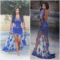 Wholesale Open Back Evening Crystal Dresses - 2016 Roy Blue Deep V Neck Evening Dresses Open Back Embroidery Beaded Crystal Side Splits Formal Dresses Prom Occasion Dresses
