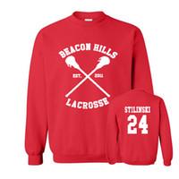 Wholesale Lacrosse Men - Wholesale-BEACON HILLS LACROSSE Maroon Hoodie Wolf Stiles Stilinski Teen 24 hooded Men's O Neck Fleece Hoody Pullover Clothing Sportswear