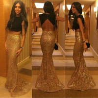 Wholesale White Evening Grown - Gold and Black Two Pieces Prom Dresses 2016 Satin Top Sequins Skirt Grew Neck Hollow Backless Fashion Mermaid Formal Party Evening Dresses