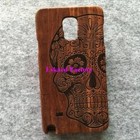 Wholesale Skull Galaxy Note Cases - Stylish Cover Case For Galaxy Note 4 Genuine Rosewood Classical Wooden Cell Phone Back Cover Housing For Samsung Galaxy Note 4(Skull)