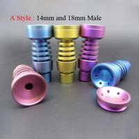 Wholesale T Female Adjustable - Colorful Titanium Nail Adjustable GR2 Domeless Titanium Nails T-001 T-003 14mm and 18mm Male or Female Joint Smoking Water Pipe Bongs
