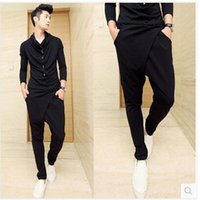 Wholesale Hip Nightclub - Wholesale-Free Shipping 2015 New style Fashion Male Cotton Personality Nightclub Drop Crotch Hip Hop Trousers Men Harem Pants