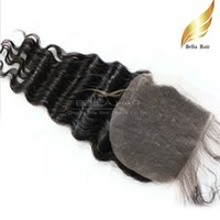 Wholesale Cheap Brazilian Lace Closures - Brazilian Hair Cheap Human Hair Weave Lace Closure Deep Wave Curly Extensions Top Closures Weave (4x4) Free Shipping Natural Color Bellahair