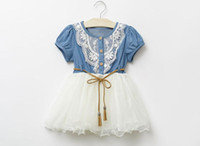 Wholesale Girls Denim Short Bow - Summer Girls Denim Dress Baby Tutu Dress Kids Princess Dresses Lace And Gauze Hem With Belt Children Clothing Casual Dresses Free Shipping