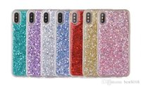 Wholesale Iphone Sparkle Skin - Luxury Beads Bling Glitter Soft TPU Case For Iphone X 8 8th I8 Silicone Clear Sparkle Shinny Back Cover Clear Colorful Dijiao Skin