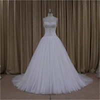 Wholesale Plus Size Sweetheart Wedding Dress - 2016 China Online Store Sweetheart Crytal Beads Top Lace Up Back White Customized Made Wedding Dresses Plus Size Vestidos Do Noivas ZB02