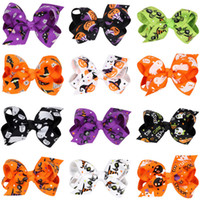 Wholesale Halloween Grosgrain Ribbon Wholesale - grosgrain ribbon bows for hair hair bows Girls children Halloween pumpkin hairpins hair accessories princess hairbows Hair clips