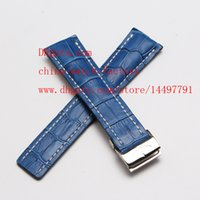 Wholesale Breitling Crocodile - Luxury Brown & Blue Crocodile Croco Leather Strap 24mm Use Navitimer SuperOcean Folding clasp High Quality Bands Mens Watch Men's Watches