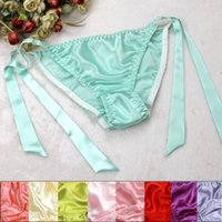 Wholesale women silk underwear bikini - Women's 100% Silk Bikinis Panties Silk Panties Women's G-strings Women Underwear Sexy Lace high quality sil05