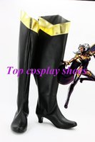 Wholesale Long Black Shoes For Men - Wholesale-Freeshipping x-men Ororo Munroe cosplay Shoes Boots long custom-made for Halloween Christmas festival