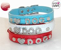 Wholesale Mix Slide Dog Collar - Customized PU leather dog collar for DIY 10mm slide letters multi mixed colors wholesale free shipping