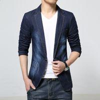 Wholesale Fitted Denim Blazer - New 2018 spring dark color casual denim blazer men fashion slim fit stonewashed and white blazer men's clothing size m-3xl