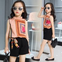 Wholesale Girl Clothes Set Years - Kids girls sleeveless suit 2017 new summer children's Chiffon casual T-shirt+Shorts Sets big virgin piece shorts girl clothes 3-15 years
