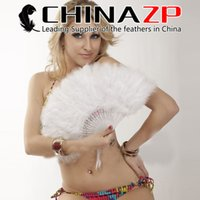 Wholesale White Marabou - CHINAZP Factory Good Quality Bleached White Turkey Marabou Feather Hand Fan for Dance and Party Decorations