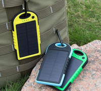 Wholesale Solar Panel Batteries Wholesale - 5000mAh Solar Charger and Battery Solar Panel portable power bank for Cell phone Laptop Camera MP4 With Flashlight waterproof shockproof